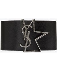 Saint Laurent Ysl Star Cuff Bracelet In Leather And Metal - Black