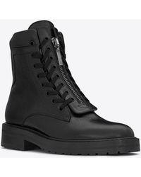 Saint Laurent - William 25 Front Zip Boot In Black Leather - Lyst