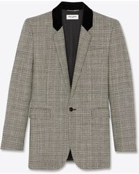 Saint Laurent Square-cut Long Jacket In Deconstructed Prince Of Wales Wool Check - Black