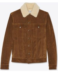 Saint Laurent Shearling-collar Tanned Denim Jacket - Brown