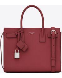 Saint Laurent Borsa classica sac de jour baby in pelle martellata - Rosso
