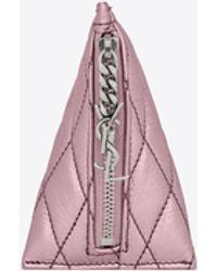 Saint Laurent Berlingo charm en cuir lamé matelassé - Rose