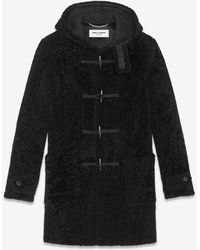Saint Laurent Duffle Coat In Shearling - Black