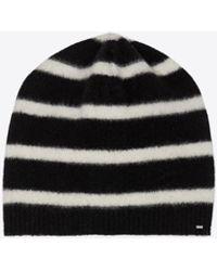 Saint Laurent Striped Hat Black