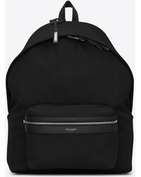 Saint Laurent Cit-e Backpack In Canvas With Jacquardtm By Google - Black