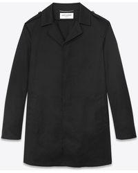 Saint Laurent Imperméable boutonné - Noir