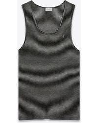 Saint Laurent Gestreiftes tantop aus jersey mit monogramm - Lila