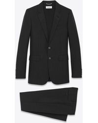 Saint Laurent Classic Suit In Black And Anthracite Striped Wool - Multicolor