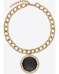 Saint Laurent Collana in metallo e smalto con pendente medaglione - Metallizzato