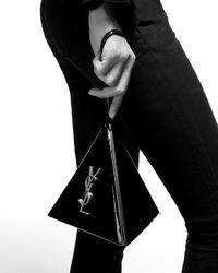 Saint Laurent Pyramid box en cuir verni - Noir