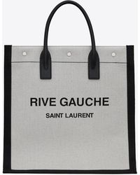 Saint Laurent Rive gauche n/s sac cabas en lin imprimé et cuir - Blanc