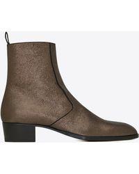 Saint Laurent Wyatt boots zippées en cuir métallisé craquelé - Noir