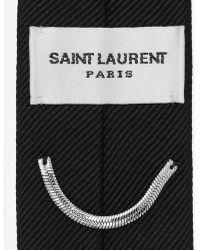 Saint Laurent Signature Evening Skinny Tie In Black Silk Grosgrain