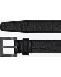 Saint Laurent Square Narrow Belt In Crocodile Embossed Leather - Black