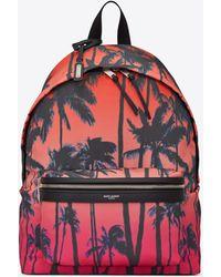 Saint Laurent City Backpack In Dip-dye Palm-print Nylon - Multicolour