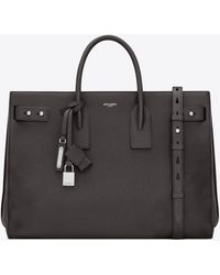 Saint Laurent Thin large sac de jour en cuir grainé - Noir