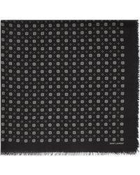 Saint Laurent - Foulard à imprimé petits vitraux en twill de laine noire et ivoire - Lyst
