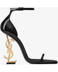 Saint Laurent Opyum Sandals In Patent Leather With Gold-tone Heel - Black
