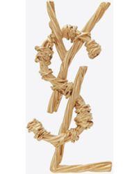 Saint Laurent Opyum Ysl Rope Brooch In Brass - Metallic