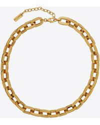 Saint Laurent - Squared Cable Chain Choker In Metal - Lyst