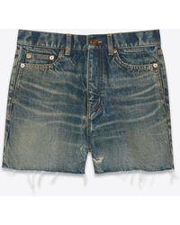 Saint Laurent Shorts in denim blu scuro e ruggine