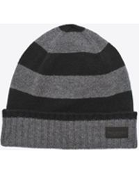 Saint Laurent - Knit Hat In Black And Grey Collegiate Striped Cashmere - Lyst