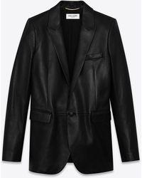 Saint Laurent Veste de tailleur en cuir brillant - Noir