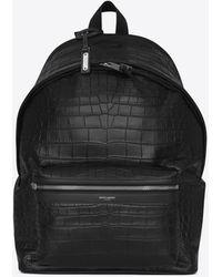 Saint Laurent City Backpack In Crocodile Embossed Leather - Black