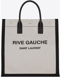Saint Laurent Rive Gauche N/s Tote Bag In Printed Linen And Leather - White