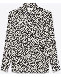 Saint Laurent Chemise col yves en soie à imprimé éclat mat et brillant - Noir