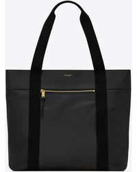Saint Laurent Shopping bag daily cabas piccola in pelle vintage e cotone - Nero
