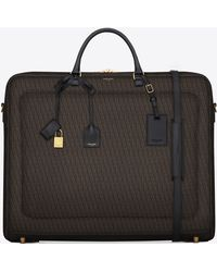Saint Laurent - Classic Toile Monogram Large Garment Bag In Black Printed Canvas And Leather - Lyst