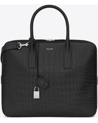 Saint Laurent - Classic Small Museum Briefcase In Black Crocodile Embossed Leather - Lyst
