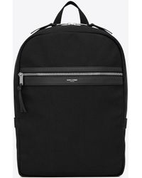 Saint Laurent Laptop City Backpack In Canvas - Black