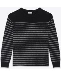 Saint Laurent Metallic Striped Knitted Jumper - Black