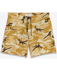 Saint Laurent Board Shorts In Beige Ottoman Camouflage Printed Cotton And Nylon - Natural