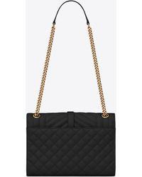 Saint Laurent Medium Envelope Matelassé Suede Shoulder Bag - Black