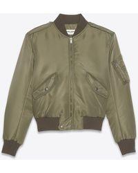 Saint Laurent Bomber Jacket In Nylon - Green