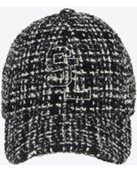 Saint Laurent Casquette sl en tweed de laine à carreaux - Noir