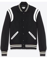 Saint Laurent Men's Two Band Teddy Bomber Jacket In Black