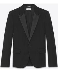 Saint Laurent - Peaked Lapel Tuxedo Jacket With In Grain De Poudre - Lyst