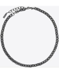 Saint Laurent Thick Faceted Cable-chain Necklace - Metallic