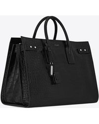Saint Laurent - Sac De Jour Large In Crocodile Embossed Leather - Lyst