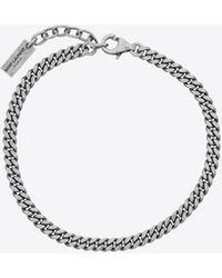 Saint Laurent Curb Chain Bracelet In Metal - Metallic