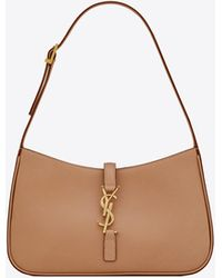 Saint Laurent Le 5 À 7 Hobo Bag In Vegetable-tanned Leather - Brown
