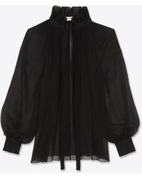 Saint Laurent Pleated Blouse In Crepe Georgette - Black