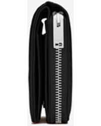 Saint Laurent Monogram Compact Zip Around Wallet In Grain De Poudre Embossed Leather - Black