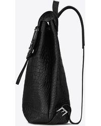 Saint Laurent - Weicher Sac de Jour-Rucksack aus schwarzem Leder mit Krokodillederprägung - Lyst