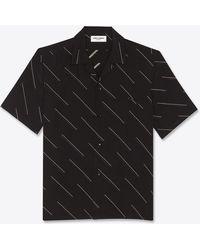 Saint Laurent Shark-collar Shirt In Diagonal Double Dash Silk Crepe De Chine - Black