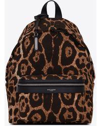 Saint Laurent City Mini Backpack In Leopard-print Canvas - Natural